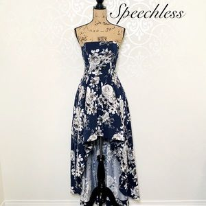 SPEECHLESS BLUE FLORAL HI-LOW DRESS SIZE 7 NWT
